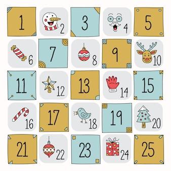 Calendário do advento mão desenhada