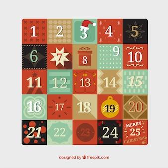 Calendário do advento no estilo do vintage