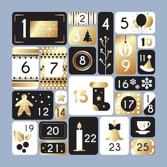 Calendário do advento preto e dourado