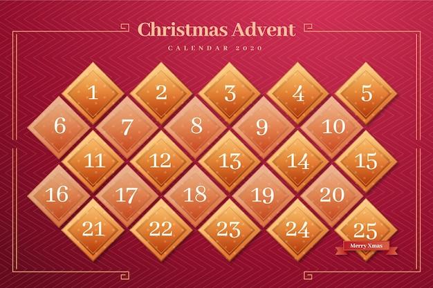 Calendário do advento vermelho e dourado