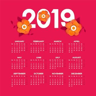 Calendário do ano 2019 novo