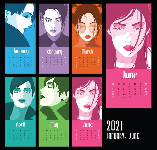 Calendário do ano 2021 com mulheres da moda no estilo pop art. janeiro a junho