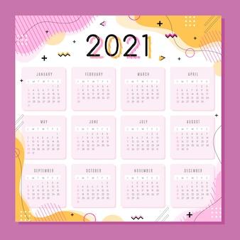 Calendário do ano novo 2021 em design plano