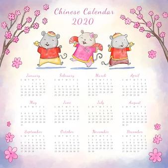 Calendário do ano novo chinês em aquarela