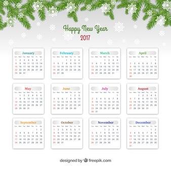 Calendário do ano novo feliz