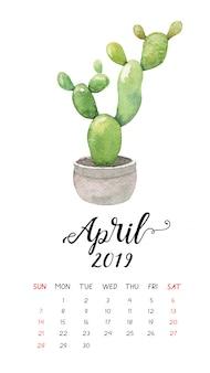 Calendário do cacto da aguarela para abril de 2019.