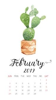 Calendário do cacto da aguarela para fevereiro de 2019.