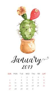 Calendário do cacto da aguarela para janeiro de 2019.