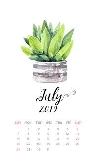 Calendário do cacto da aguarela para julho de 2019.