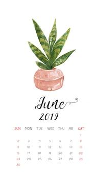 Calendário do cacto da aguarela para junho de 2019.