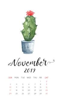 Calendário do cacto da aguarela para novembro de 2019.