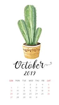 Calendário do cacto da aguarela para outubro de 2019.