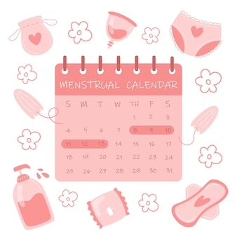 Calendário do ciclo menstrual e itens de higiene feminina em estilo plano