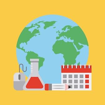 Calendário do mundo da ciência aprendizagem educação