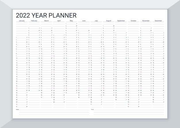 Calendário do planejador de 2022 anos. grade do calendário de mesa. ilustração vetorial.