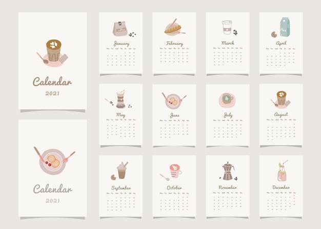 Calendário do planejador de decoração para casa com tema de café.