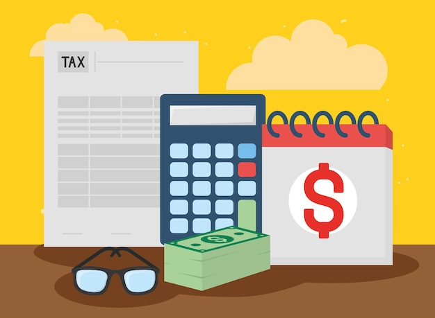 Calendário e contas da calculadora de documentos fiscais