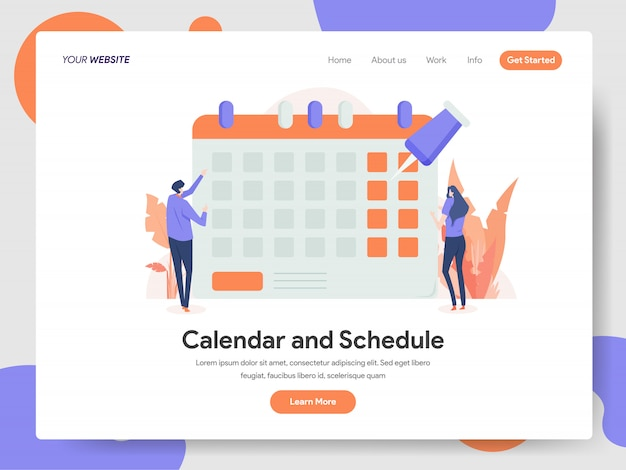 Calendário e cronograma de ilustração