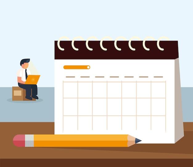 Calendário e lápis do empresário