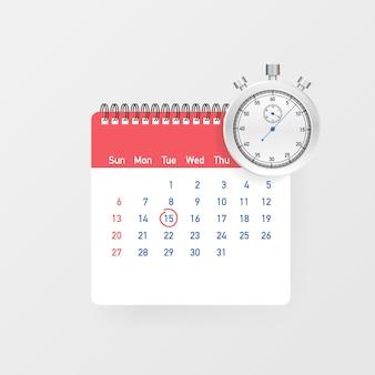 Calendário e relógio. agendar conceitos.