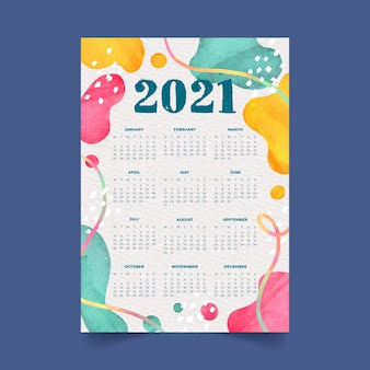 Calendário em aquarela de ano novo 2021 com formas abstratas coloridas