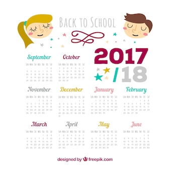 Calendário escolar 2017-2018 com crianças legais