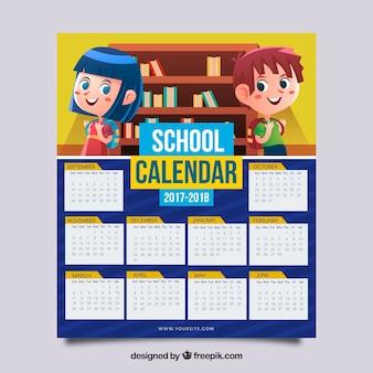 Calendário escolar 2017-2018 com crianças