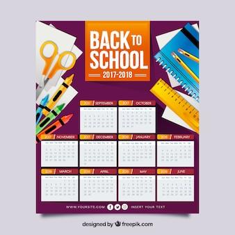Calendário escolar 2017-2018 com materiais em design plano