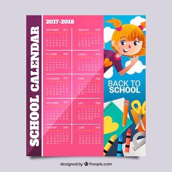 Calendário escolar 2017-2018 com menina e materiais