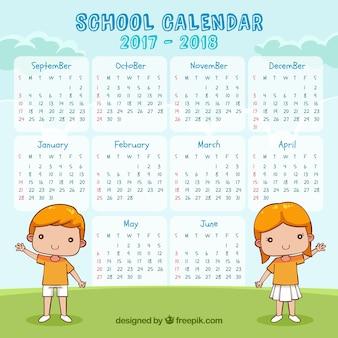 Calendário escolar 2017-2018 com saudação infantil