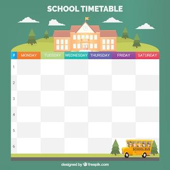 Calendário escolar adorável com design plano