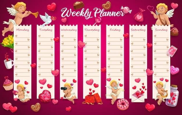 Calendário escolar, agenda semana com corações de amor