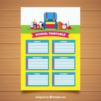 Calendário escolar amarelo