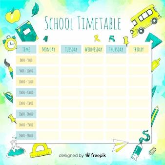 Calendário escolar aquarela com elementos