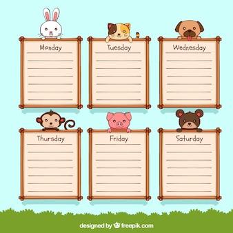 Calendário escolar bonito com animais