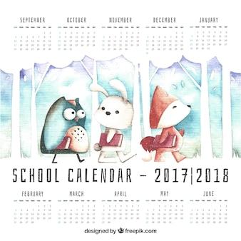Calendário escolar bonito com personagens aquarela