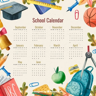 Calendário escolar com acessórios aquarela