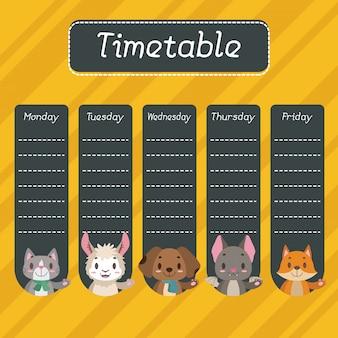 Calendário escolar com animais fofos