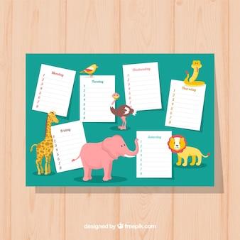 Calendário escolar com animais selvagens