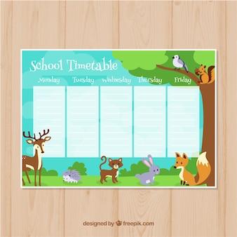 Calendário escolar com animais