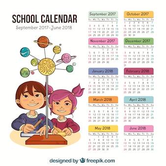 Calendário escolar com crianças desenhadas a mão