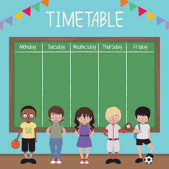 Calendário escolar com crianças e quadro-negro