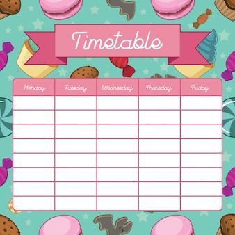 Calendário escolar com doces