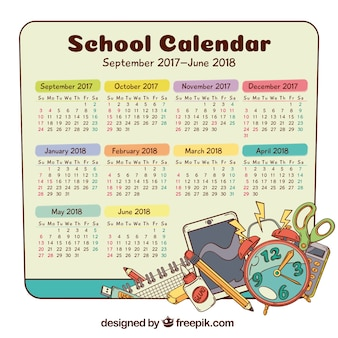 Calendário escolar com elementos desenhados à mão