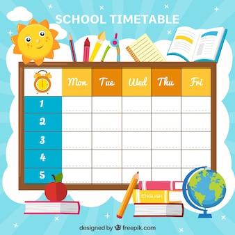 Calendário escolar com elementos