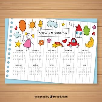 Calendário escolar com esboços de crianças