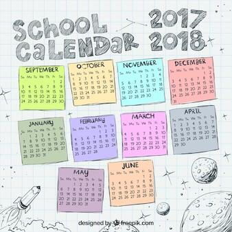 Calendário escolar com esboços do universo