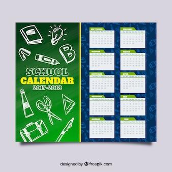 Calendário escolar com esboços materiais
