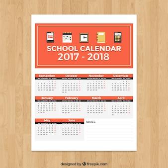 Calendário escolar com estilo minimalista