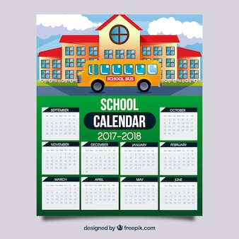 Calendário escolar com fachada da escola